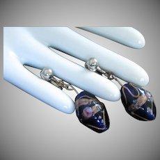 Venetian Wedding Cake Bead Drop Earrings, Cobalt Blue