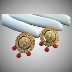 Trifari Gold Tone Vintage Earrings with Paprika Glass Beads