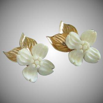 Vintage Gold Filled Dogwood Blossom Earrings