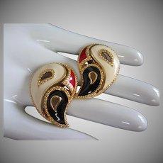 Avon Cream Navy and Red Enamel Pierced Earrings, Teardrop Shape
