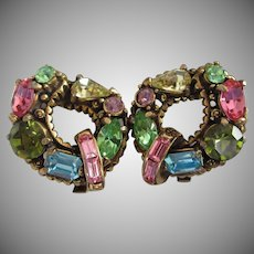 Hollycraft Pastel Rhinestone Vintage Earrings, 1955