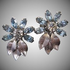 Krementz Blue Rhinestone Flowers Silver Tone Leaves Earrings