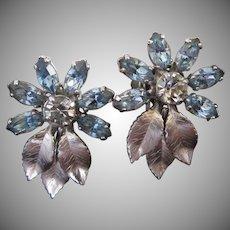 Krementz Blue Rhinestone Flowers Silver Tone Leaves Earrings