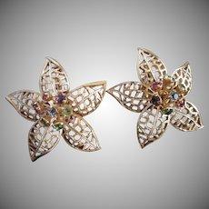 Vintage Flowers Enamel and Rhinestone Trembler Earrings