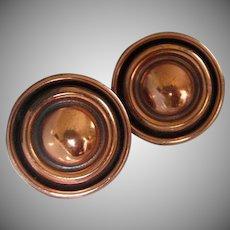 Renoir Round Copper Clip On Earrings