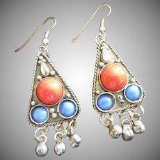 Vintage Dangling Pierced Silver Tone Earrings ~ Mexico