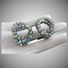 Blue Green AB Rhinestone Intertwining Circles Earrings