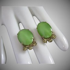 Summertime Green Glass Cabs and Yellow Rhinestone Earrings