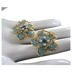 Turquoise Blue Enamel and Gold Tone Flower Earrings