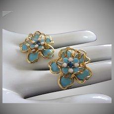Turquoise Blue Enamel and Gold Tone Flower Earrings