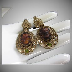 Vintage Glass Cameo and Brass Earrings signed GERMANY