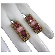 Amethyst Rhinestones Pink Glass and Gold Tone Mesh Earrings
