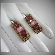 Amethyst Rhinestones Pink Glass and Gold Tone Mesh Earrings