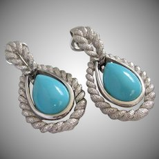 AVON Faux Turquoise and Silver Tone Rope Clip On Earrings