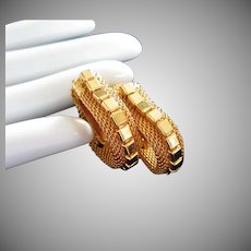 Gold Tone Mesh Wrap Around Clip Earrings