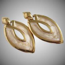 Napier Creamy Enamel Dangling Clip Earrings