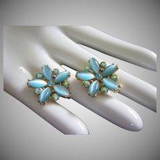 Vintage Satin Aquamarine Blue Glass and AB Rhinestone Earrings