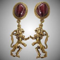 Heraldic Crest Symbol Lions Dangling Pierced Earrings