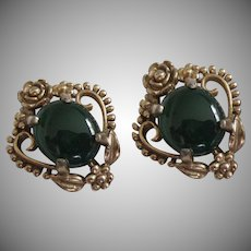 Chrysoprase Colored Glass and Gold Tone Earrings