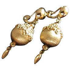 Monet Gold Tone Dangle Earrings