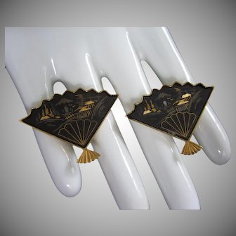 Amita Japan Fan Shaped Damascene Earrings, Classic Fishing Village Scene