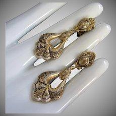 Damascene Dangling Scalloped Vintage Earrings