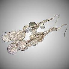 Long Cascade of Coins Pierced Earrings