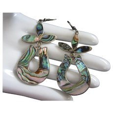 Abalone Dangling Pierced Earrings, Alpaca Mexico