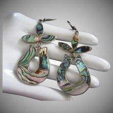 Abalone Dangling Pierced Earrings, Alpaca Mexico