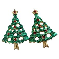 Enamel Christmas Tree Vintage Earrings, Clip On