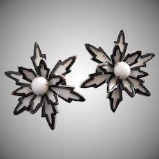 Black and White Enamel and Milk Glass Flower Earrings