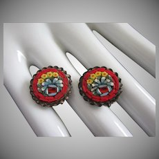 Vintage Italian Micro Mosaic Floral Earrings
