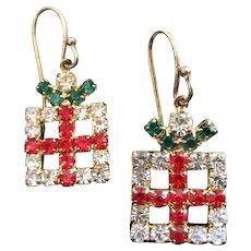 Small Rhinestone Christmas Presents Pierced Earrings