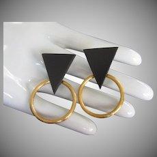 B David Geometric Black and Gold Earrings, Clip On
