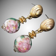 Cloisonne Pierced Dangle Earrings, Pink and Green Flowers