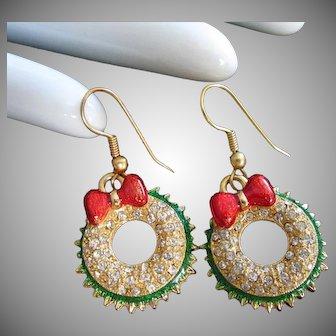 Dangly Pierced Holiday Wreath Earrings in Clear Rhinestones and Enamel