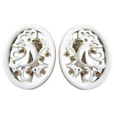 MONET White Enamel Bird of Paradise Earrings - 1970's