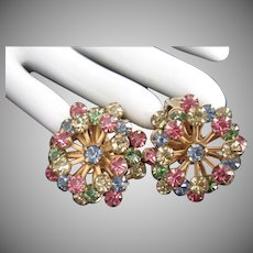 Layered Pastel Colored Rhinestone Clip On Earrings