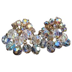Cascading Crystals and Aurora Borealis Rhinestones Earrings