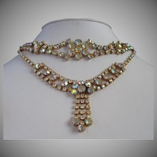 Yellow-Pink Aurora Borealis Rhinestone Vintage Necklace Bracelet Set-Reserved for Pamela
