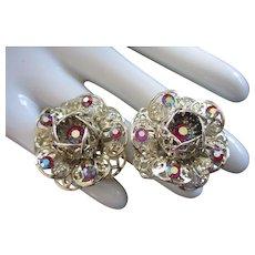 Sarah Coventry AB Rhinestone Flower Earrings