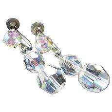 Vintage Aurora Borealis Crystals Drop Earrings