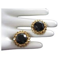 Large Faceted Black Glass Vintage Earrings