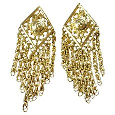 Dangling Chains Vintage Gold Tone Earrings