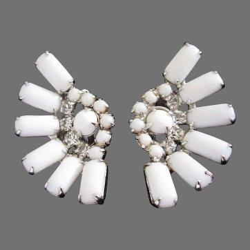Vintage Kramer White Milk Glass and Rhinestone Fan Shaped Earrings, Bridal Jewelry