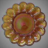 Indiana Glass Amber Carnival Glass Egg Plate, Deviled Egg Platter