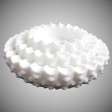 Fenton White Milk Glass Hobnail Nesting Ashtrays, Set of 3