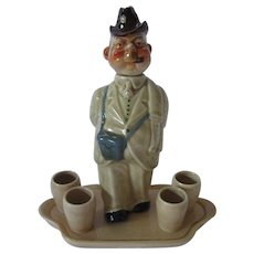Final Markdown - Whimsical Decanter Set of German Man on Walk About ~ R & L Block Made in Germany