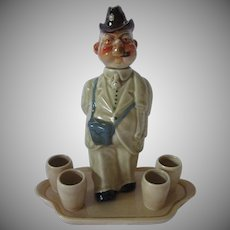 Whimsical Decanter Set of German Man on Walk About ~ R & L Block Made in Germany