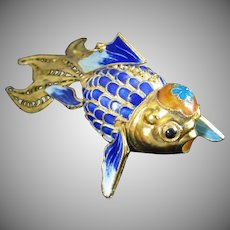 Amazing Articulating Vermeil Chinese Koi Fish with Google Eyes ~ REDUCED 1/2 OFF!